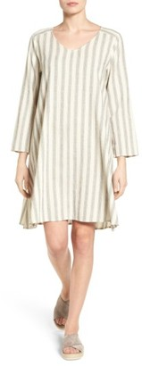 Women's Eileen Fisher Ticking Stripe Trapeze Dress $278 thestylecure.com
