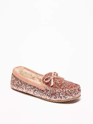 Old Navy Glitter Sherpa-Lined Moccasin Slippers for Women