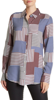 FOXCROFT Patchwork Long Sleeve Shirt $89 thestylecure.com