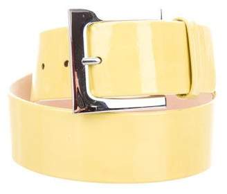 Reem Acra Patent Leather Buckle Belt