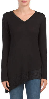 V-neck Fringe Hem Pullover Sweater