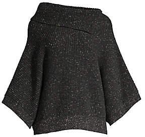 Peserico Women's Glitter Wool-Blend Lurex Shawl Sweater