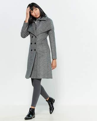 Sandova Double-Breasted Herringbone Wool-Blend Coat