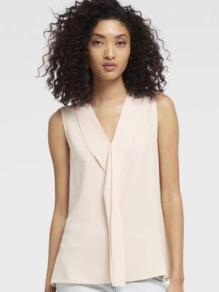 DKNY Ruffle Front V-Neck Top