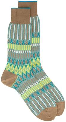 Ayame Green and yellow Basket Lunch knitted pattern socks
