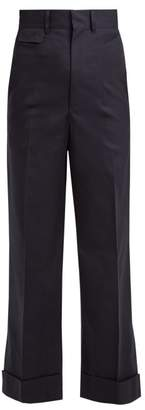 Toga - High Rise Straight Leg Cotton Blend Trousers - Womens - Navy