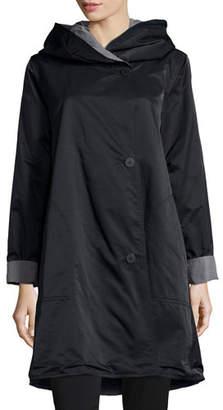 Eileen Fisher Plus Size Reversible Hooded Rain Coat, Black/Pewter