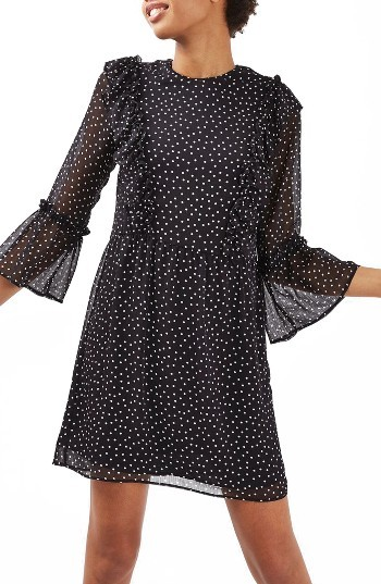 Women's Topshop Spot Ruffle Flute Dress