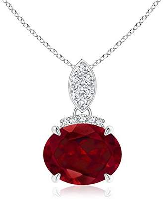 Angara.com Claw Set Oval Garnet Solitaire Pendant with Diamond Accents in 14K White Gold (9x7mm Garnet)