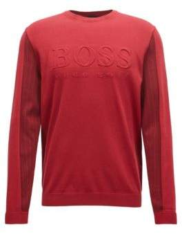 BOSS Hugo Crew-neck sweater embossed logo & tonal details L Dark Red