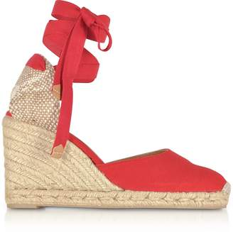 Castaner Carina Ruby Red Canvas Wedge Espadrillas