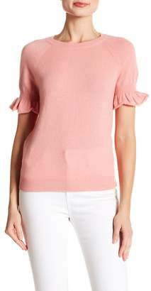 Minnie Rose Ruffle Sleeve Crew Neck Cashmere Top