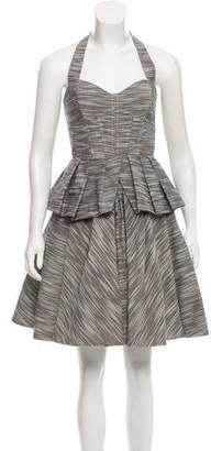 Zac Posen Printed Halter Mini Dress