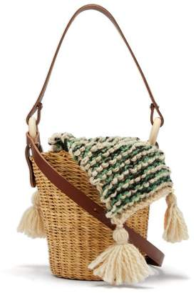 Muun Seau Wool And Woven Straw Bucket Bag - Womens - Green Multi