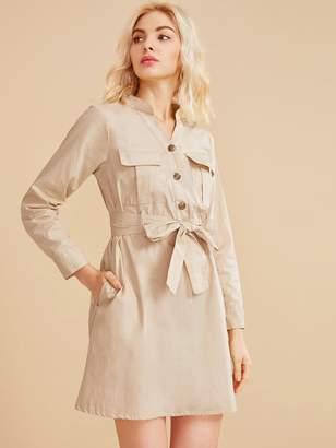 Shein Half Button Pocket Side Belted Shirt Dress