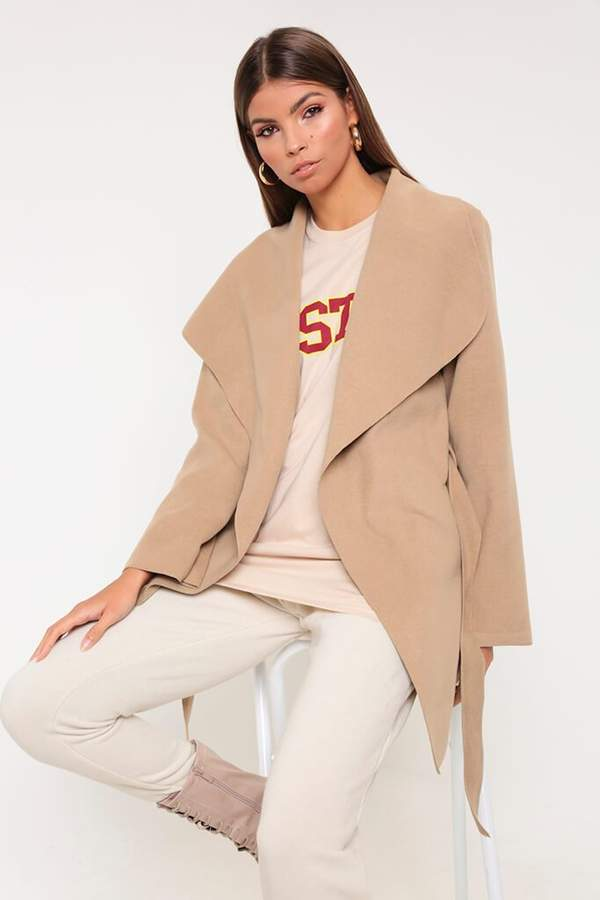 Isawitfirst Cream Oversized Waterfall Duster Coat