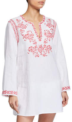 Johnny Was Azalea Embroidered Linen Long-Sleeve Tunic, Plus Size