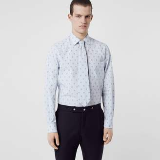 Burberry Fil Coupé Monogram Cotton Shirt and Tie Twinset