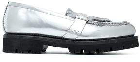 Grenson Buckled Fringed Mirrored-Leather Loafers