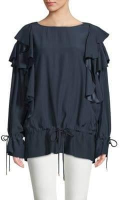 Lanvin Haut Ruffled Silk Top