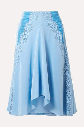 Chloé Ruched Lace-trimmed Silk Crepe De Chine Skirt - Light blue