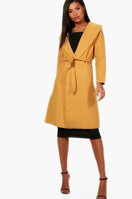 boohoo Belted Wool Look Shawl Collar Coat