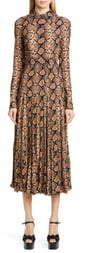 Michael Kors COLLECTION Belted Long Sleeve Crushed Georgette Shirtdress