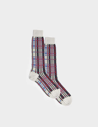 Marni Tartan Socks in Ultra Violet Mixed Material