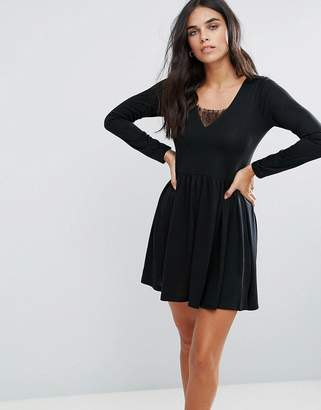 Brave Soul Stephens Long Sleeve Dress With Lace Insert