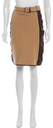 Prada Sport Leather-Trimmed Knee-Length Skirt
