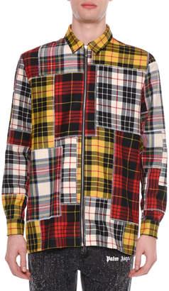 Palm Angels Men's Patchwork Plaid Zip-Front Shirt