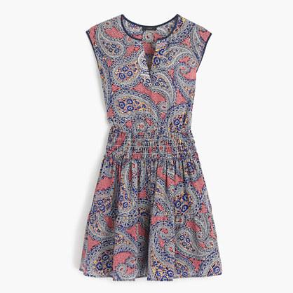 J.CrewSilk smocked-waist dress in paisley