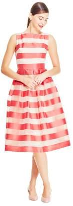 Lela Rose Stripe Organza Boat Neck Full Skirt Dress