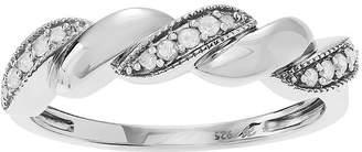 FINE JEWELRY 1/6 CT. T.W. Diamond Sterling Silver Rope Twist Ring