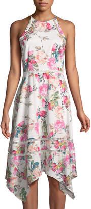 Tahari ASL Azalea-Print Halter Dress