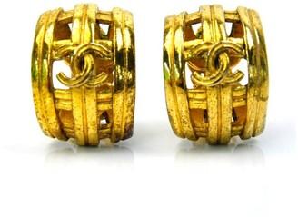 Gold Tone Metal CC Mark Clip on Earrings