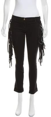 Just Cavalli Fringe-Trimmed Low-Rise Jeans