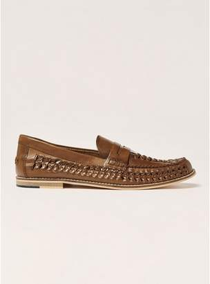 Topman Mens Brown Tan Leather Weave Mantis Loafers