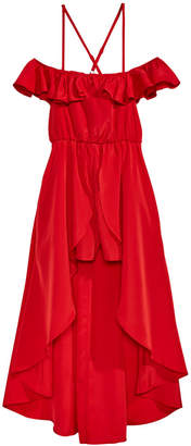 Sequin Hearts Big Girls Ruffle Maxi-Overlay Romper