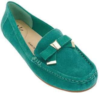Isaac Mizrahi Live! Suede Moccasins w/ Tipped Bow