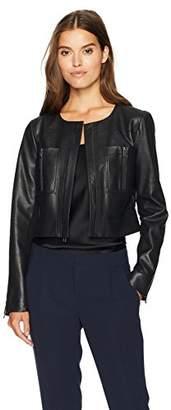 BCBGMAXAZRIA Women's Leony Faux Leather Knit Jacket