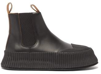 Jil Sander Flatform Leather Chelsea Boots - Womens - Black