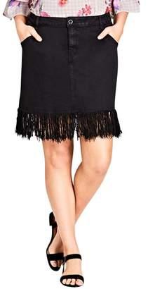 City Chic Frayed Hem Denim Skirt