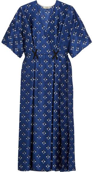 Fendi - Embellished Printed Silk Wrap-effect Dress - Blue