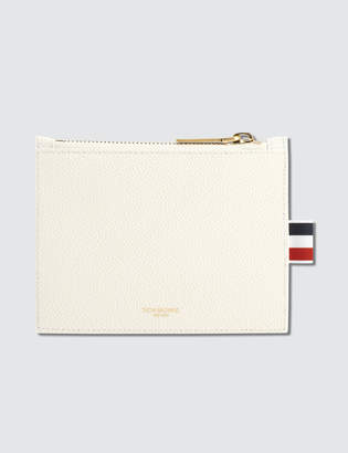 Thom Browne Pebble Grain Leather Small Coin Purse (14.5 cm) with Horizontal Stripes