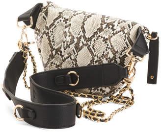 Animal Print Belt Bag With Chain Detail