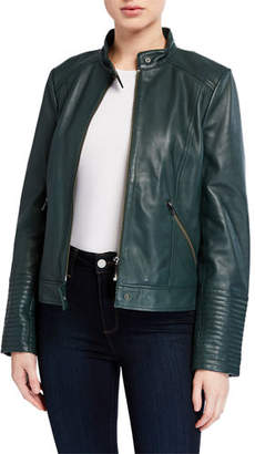 Neiman Marcus Leather Collection Leather Moto Jacket with Ribbed Cuffs