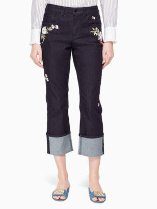 Kate Spade embroidered cuff jean