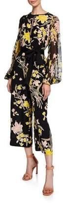 Diane von Furstenberg Delphi Cropped Floral Blouson-Sleeve Jumpsuit