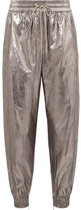 Jason Wu Metallic Foiled Shell Track Pants - Silver